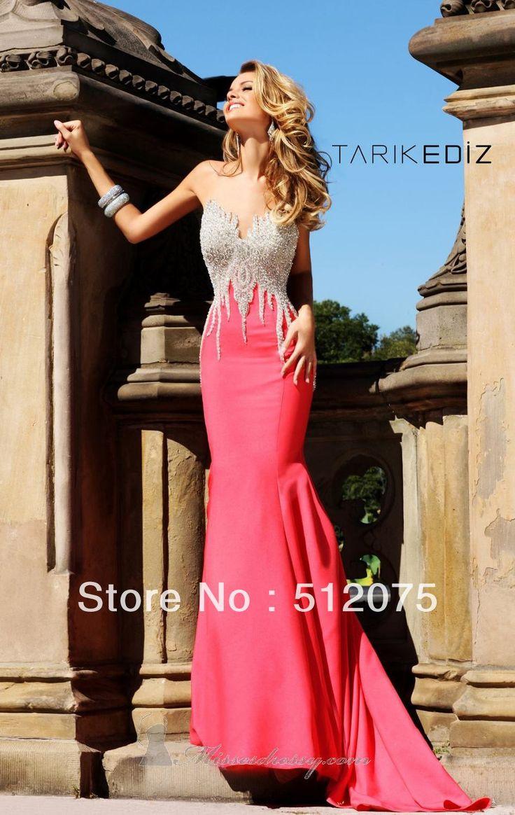 2014 Novo! Sereia Sexy Strapless frisada cetim stretch Cor vestidos bonitos da noite 106.15