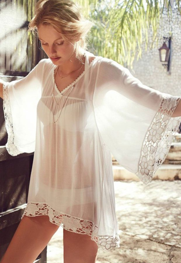 Polyester Sheer Ivory White Sleeves Women Tunic Kaftan With Lace Loose Bust Size #Handmade #TunicDressBlouse #SummerBeach