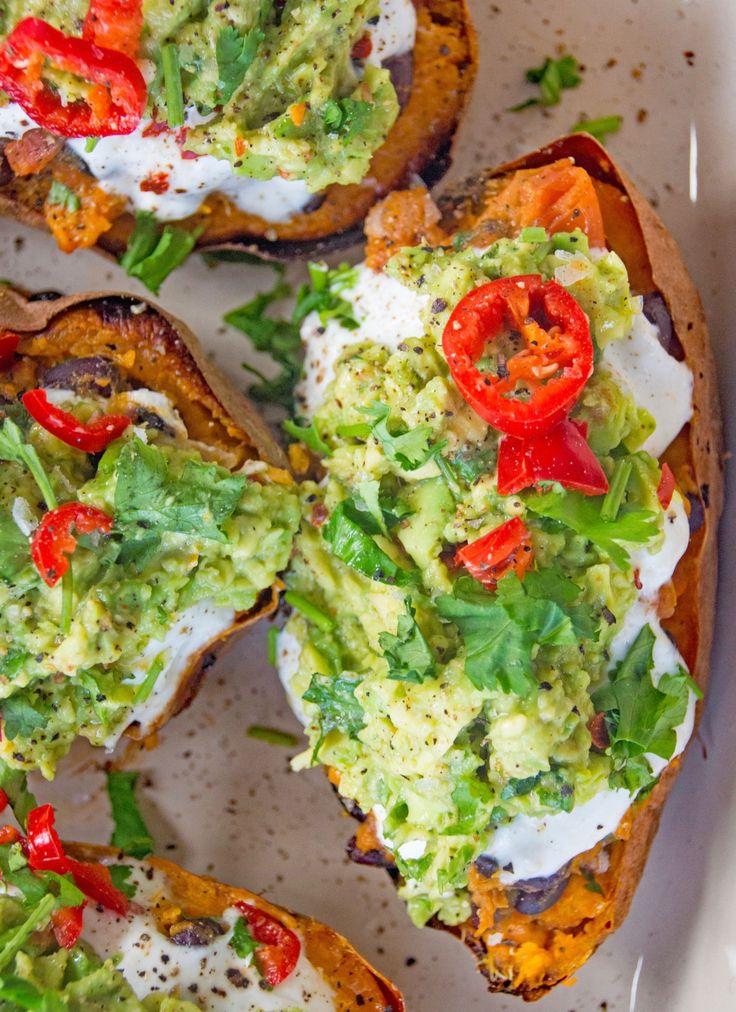 LOADED MEXICAN-STYLE SWEET POTATO SKINS - DeliciouslyElla