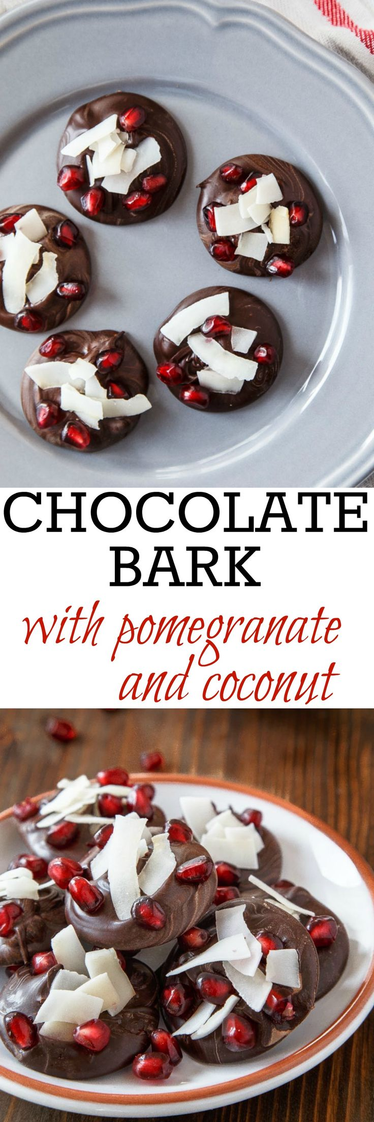 Pretty pretty chocolate bark recipe. Easy! Just 3 ingredients: melted chocolate, pomegranate seeds and coconut flakes. Make a small or large batch! @dessertfortwo