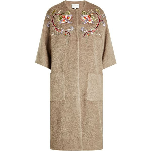 Etro Embroidered Coat ($2,010) ❤ liked on Polyvore featuring outerwear, coats, beige, beige coat, fuzzy coat, embroidered coat, midi coat and calf-length coats