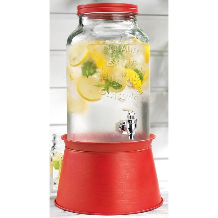 Home 1.5 Gallon Drink Dispenser Red Galvanized Base New | Home & Garden, Kitchen, Dining & Bar, Dinnerware & Serving Dishes | eBay!