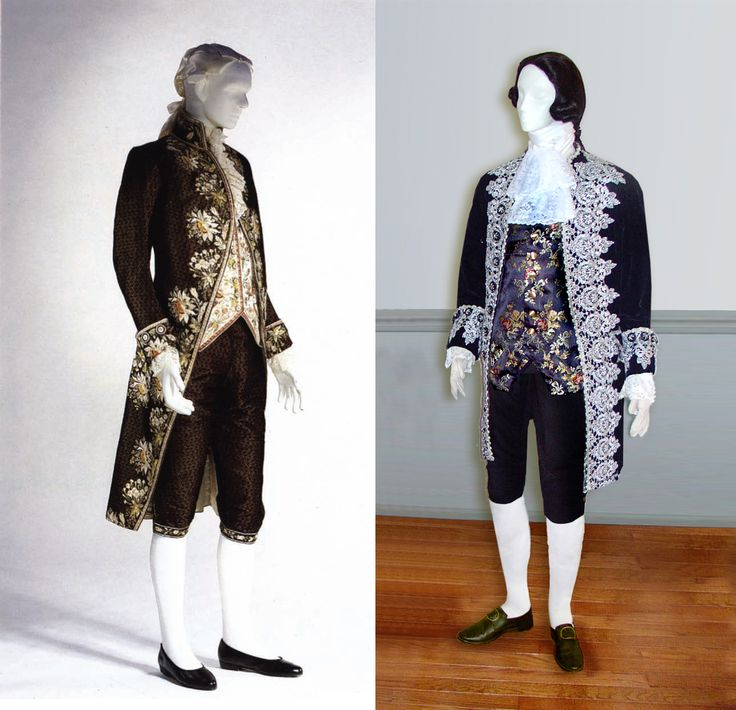 """Left, 18th c. Court suit; right, Black Velvet reproduction c.1775-1780  Suit with silver lace trim and black brocade waistcoat; from The Cut of Men's Clothes, by Norah Waugh. The elegant 18th century gentleman was no less concerned with presenting a fine appearance than was his lady. An 18th century manual on etiquette for ladies and gentlemen advised that """"One should always 'put the best foot forward'; please, shine, dazzle, whenever it is possible..."""""""