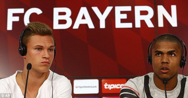 Bayern Munich unveiled their new summer signings Joshua Kimmich (left) and Douglas Costa
