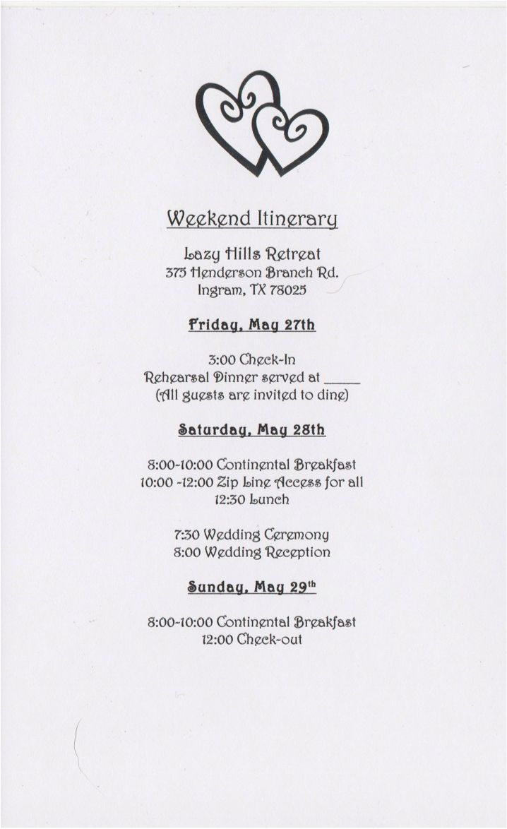 wedding weekend itinerary template invitation templates design