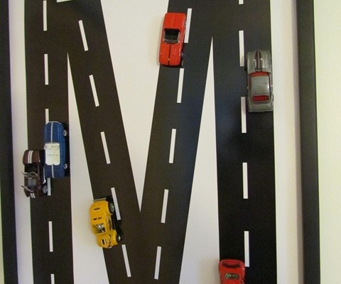 Love This Monogram Race Track For Your Little Guy S Wall