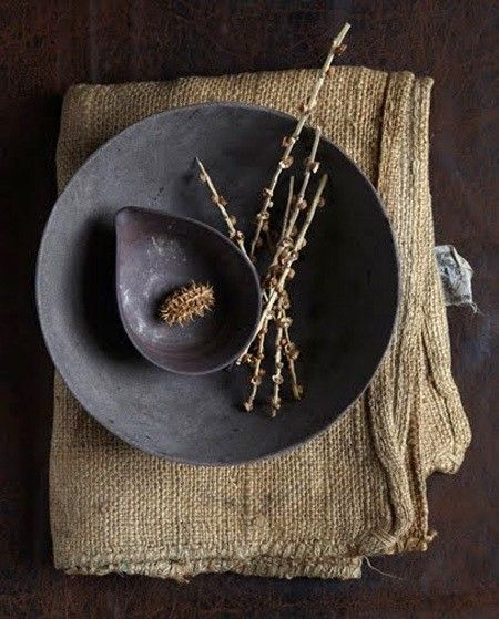 Bowl, cloth and branches