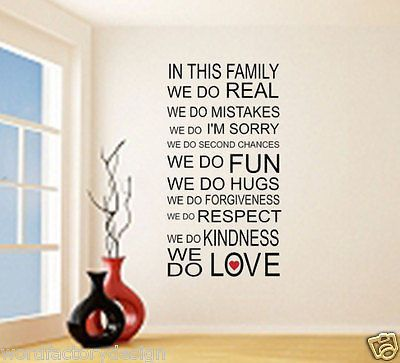 """Love runs your family, keeps all its members happy and each of them has some great traits. Show off this in the form of this funky wall decal of family mission and vision statement. Titled """"In this fa"""
