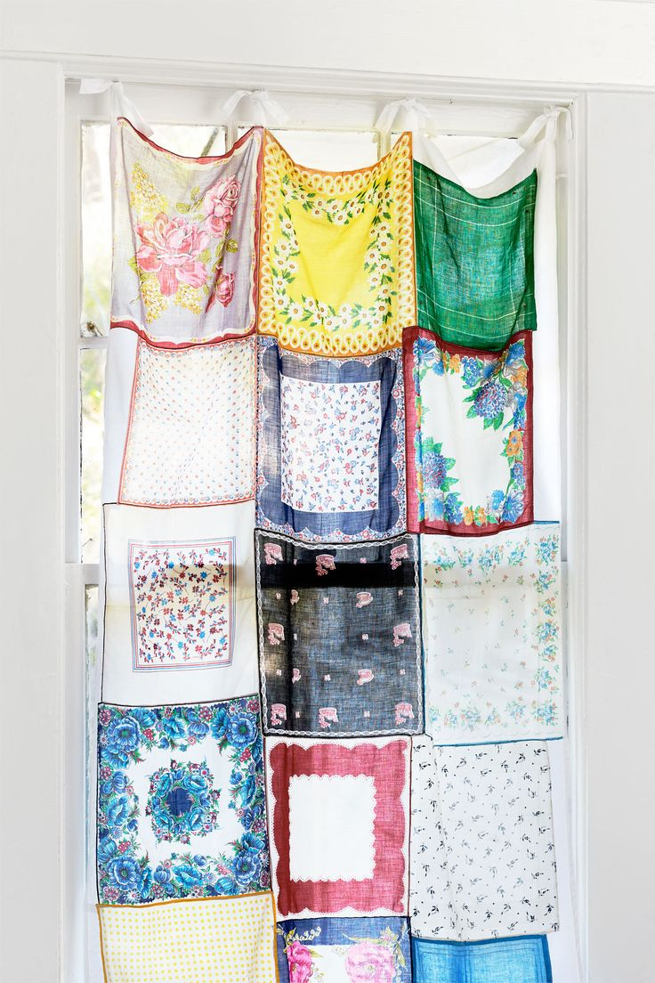 Sew vintage hankerchiefs together to create an eclectic-looking and colorful curtain.