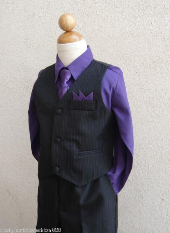 Details About Black Purple 4 Pieces Toddler Boys Set Vest