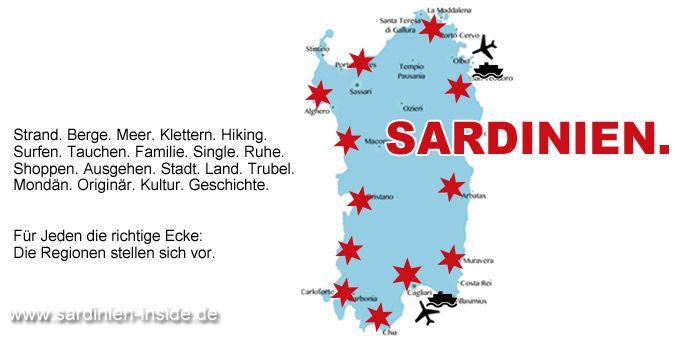 Wohin im Urlaub auf Sardinien? Welche Gegend ist die Richtige? Urlaubsfinder mit Stränden, Touren, Regionen, Sehenswürdigkeiten, Aktivitäten und mehr.