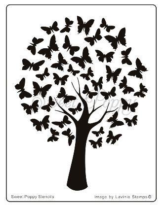 Sweet Poppy Stencil: Butterfly Tree: