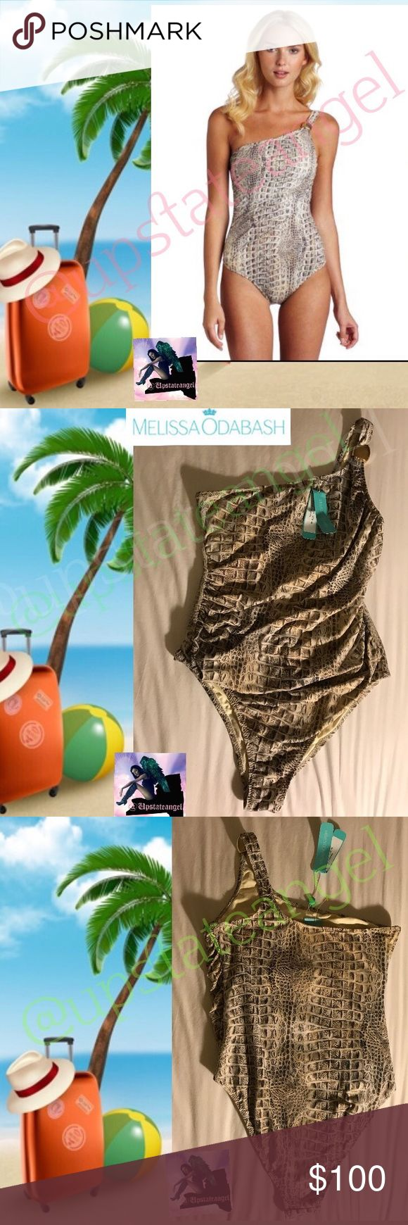 """Melissa Odabash Arizona Croc Print Swimsuit NWT 10 Beautiful Arizona One Piece from exclusive swimwear designer Melissa Odabash in stunning crocodile print. Size 46. According to Melissa Odabash Size chart is a """"10"""". -  Arizona swimsuit - Stretch-polyamide- Oversized gold bead at one shoulder, internal bust support, ruched, fully lined- 90% polyamide, 10% elastane- Hand wash. NWT.   Vogue has stated the designer created the """"Ferraris of swimwear."""". 🚫trades. Please ask all questions prior to…"""