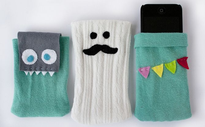 DIY Cell Phone cases out of  tights or socks, cute!!!!!!
