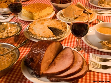 """Traditional """"sugar shack"""" meal - everything has maple of some form on or in it!  Cabane a sucre!!"""