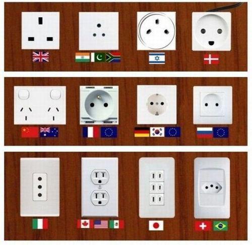 Diverse Steckdosen in verschiedenen Ländern - damit immer der richtige Anschluss dabei ist, sollte ein Adapter im Gepäck nicht fehlen.