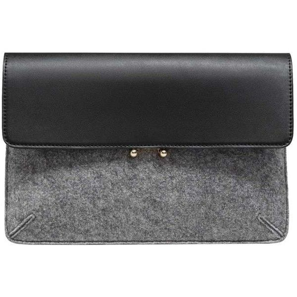 Mixed Clutch (400 MXN) ❤ liked on Polyvore featuring bags, handbags, clutches, mango handbags, gray purse, grey purse, faux leather purses and mango purse