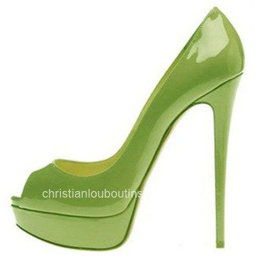 Christian Louboutin Lady Peep-Toe 150mm Patent Leather Pumps Green