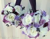 Wedding flower Ball Purple Lavender Ivory Rose Flower girl Pomander Kissing ball Wedding ceremony decorations. $22.00, via Etsy.