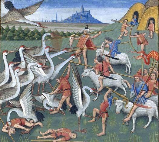 Pygmee, Secrets d'histoire naturelle, d'après Solin, 1480-1485, Robinet Testart.