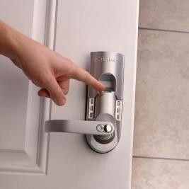 Waterproof Lock Has Fingerprint, Code, & Key Entry Make sure intruders can't gain access to your home or business. Only programmed fingerprints can release the Fingerprint Keypad Lockset.