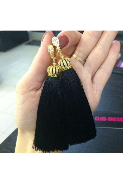 Серьги-кисти LUX whatsap instagram @clubdress артикул - Артикул: kist_41  Шикарные черные кисточки В НАЛИЧИИ!!! подробнее ->http://26.club-dress.ru/aksessuary55/earrings26/kist_41.html
