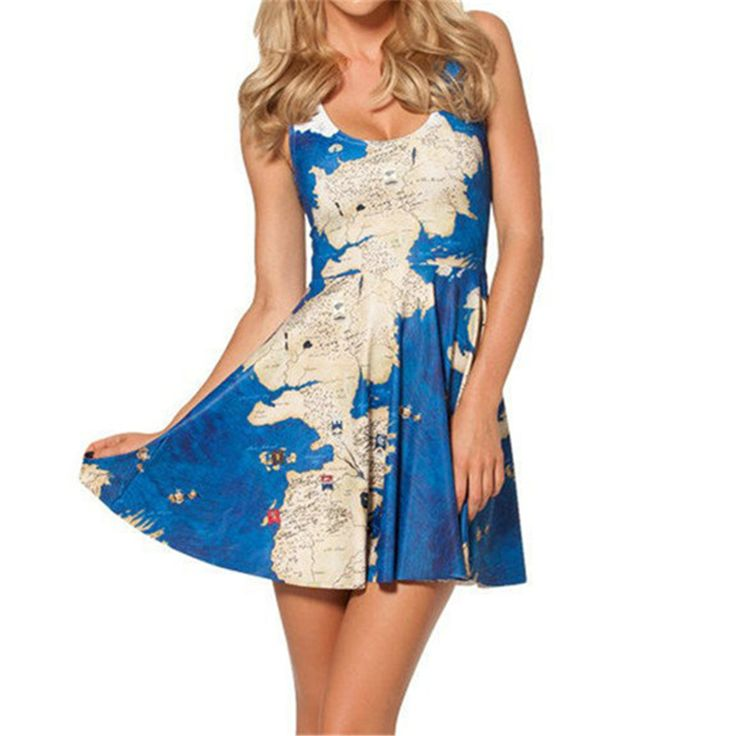 >> Click to Buy << Harajuku Women's Summer Clothing World Map Printed Blue Vest Dress Students Wear Hot Girls 3D Fashion Tattoos Pleated Dress #Affiliate