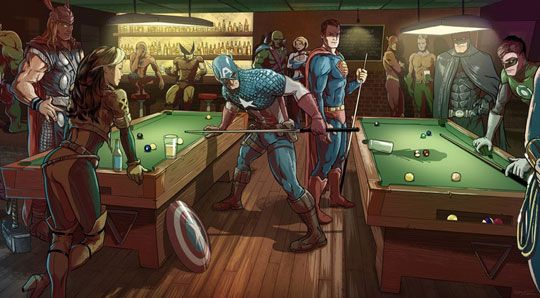 """This is how the world ends…"" is the previous  comment made. I disagree 1.) The Captain knocked over Supermans drink, they are the least likely to start a fight. And if a fight did break out there is a room full of superheroes dedicated to preserving the earth I doubt they would let it escalate that much."