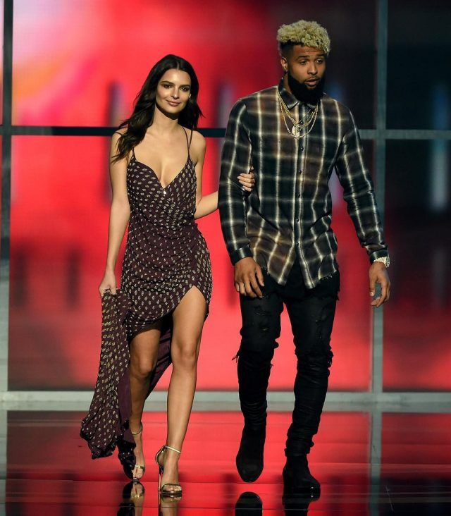 Odell Beckham Jr. with Emily Ratajkowski Wearing Amiri Shirt and Jeans at NFL Honors in Houston | UpscaleHype