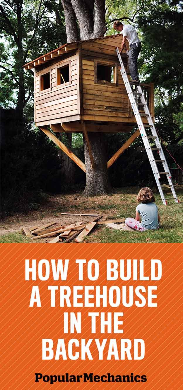 Backyard Treehouse | 15 Awesome Treehouse Ideas For You And the Kids!  | Amazing DIY Backyard Playhouse for Kids, check it out at http://pioneersettler.com/treehouse-ideas/