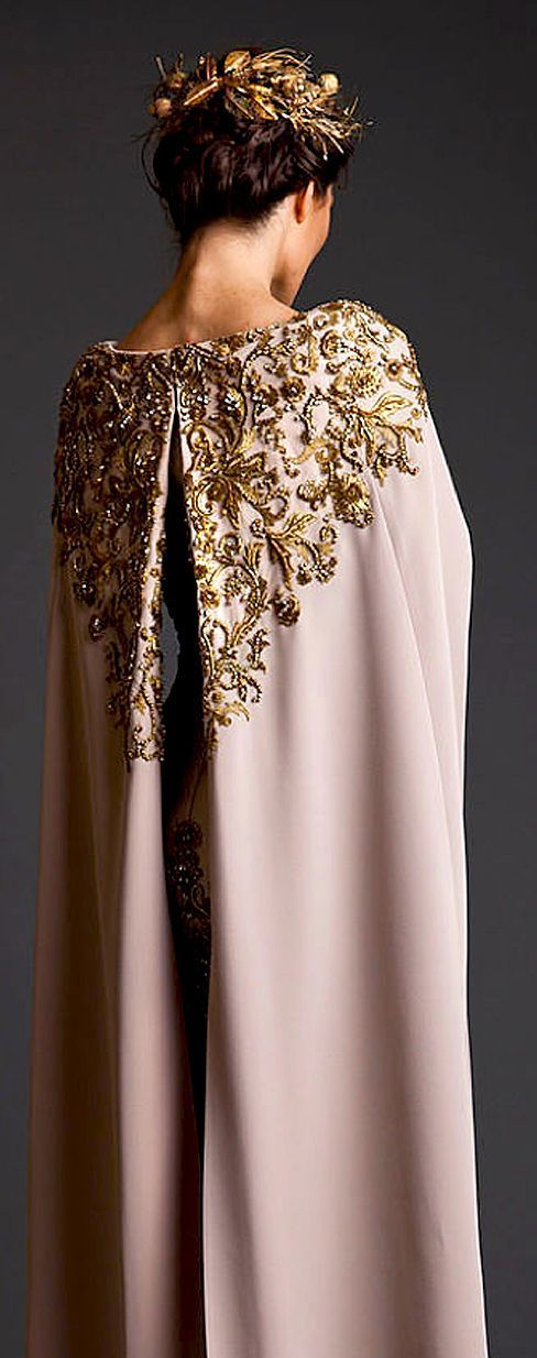 Krikor Jabotian Couture S/S 2014 beautiful cape. I could totally see this working (minus the crown) for an eccentric wedding. I love the dusky pink colour.