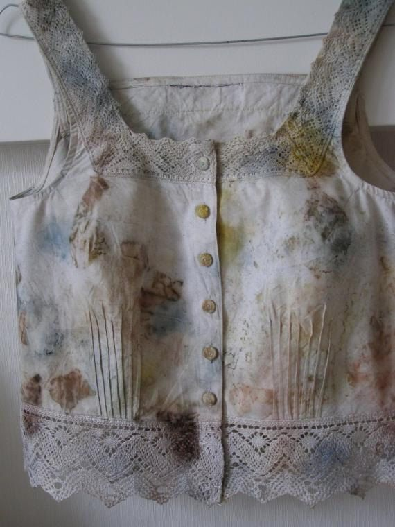 Decorative, summer blouse - cotton ,handmade, new, unique, cotton wide lace,eco dyeing, eco printing, ready to ship by EcoDyeing on Etsy