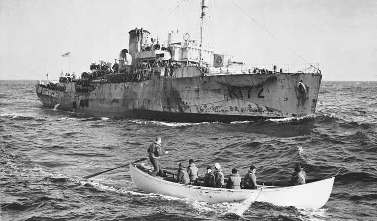HMCS TRILLIUM rescued 160 men and a cat from three ships sunk by U-606 February 1943 in the north atlantic.