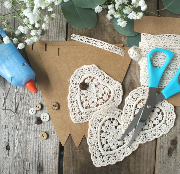 Crochet heart bunting kit perfect for weddings or as a craft project