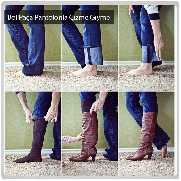 Bol paçalı pantolonunuzla da çizme giymek  çok basit.