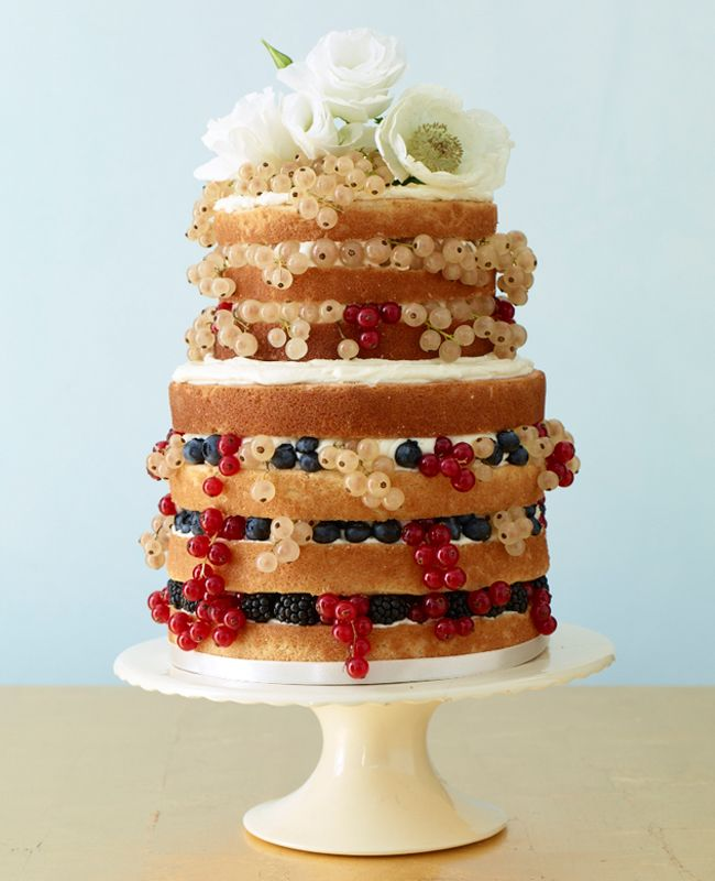 Modern, naked wedding cake | Alice's Tea Cup | Phillip Ficks | blog.theknot.com