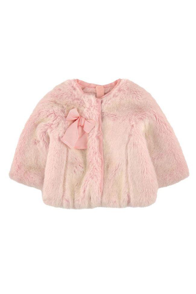 Zou, un manteau en fausse fourrure rose Monnalisa pour bébé. Tout mignon pour un bébé stylé et au chaud