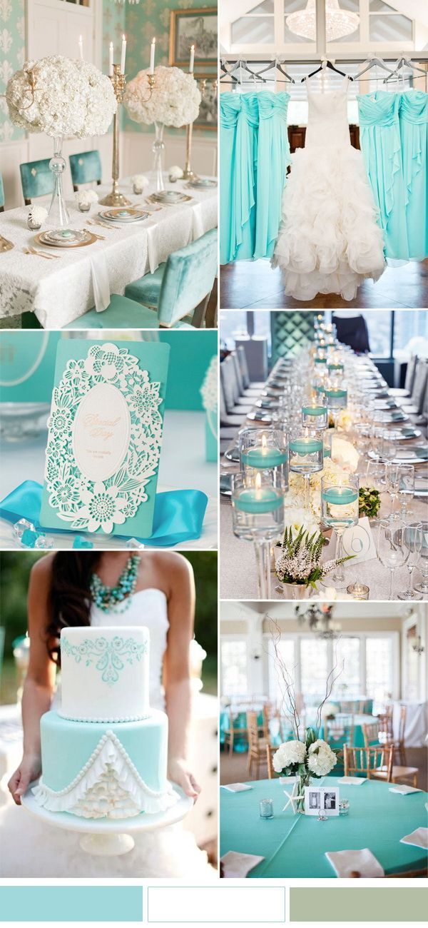 white and aqua wedding color combo for spring summer wedding 2017