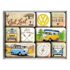 Vintage Magnet Set VW Bulli- Lets Get Lost mit 9 Magneten