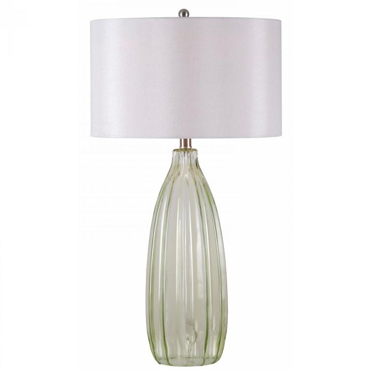 This green glass table lamp with white drum shade from kenroy home is such a simple