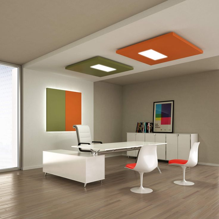 Office Acoustic comfort, Silente sound absorbing panels with led - design schallabsorber trennwande