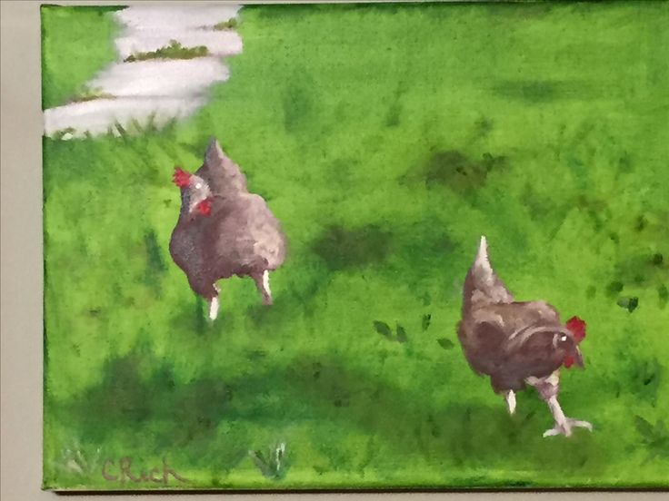 Chickens-oil on canvas by Carol Rich