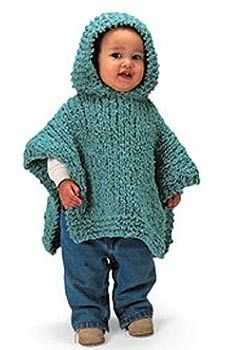 Knit Hooded Baby Poncho Pattern (Knit)