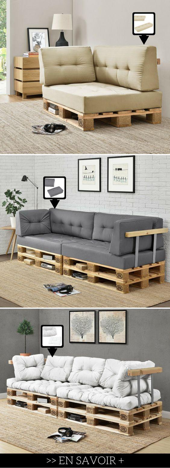 Cette boutique en ligne propose des coussins d'assise et de dossier pour les canapés en palette.
