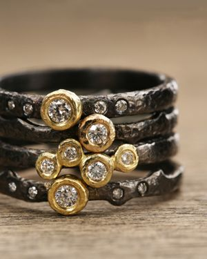 Stacked rings. Mixed metals.