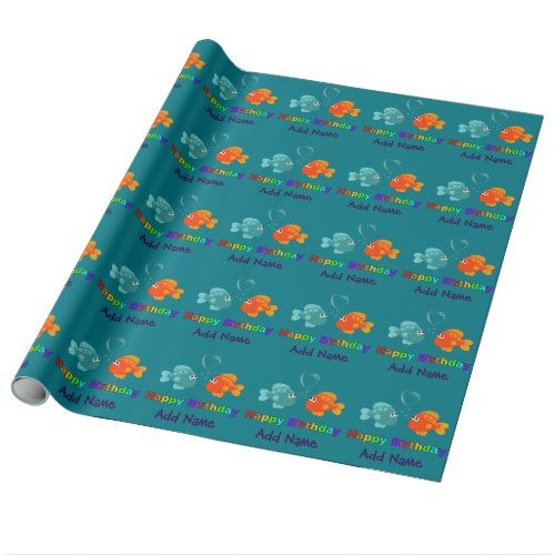 Happy Birthday Fish, Heart, Personalized. Wrapping Paper