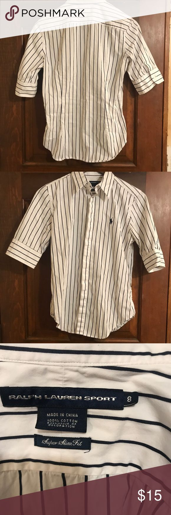 Women's polo dress shirt Size 8. Women's super slim fit dress shirt. Super soft material and semi stretchy! Worn once looks brand new. No visible flaws Ralph Lauren Black Label Tops Button Down Shirts