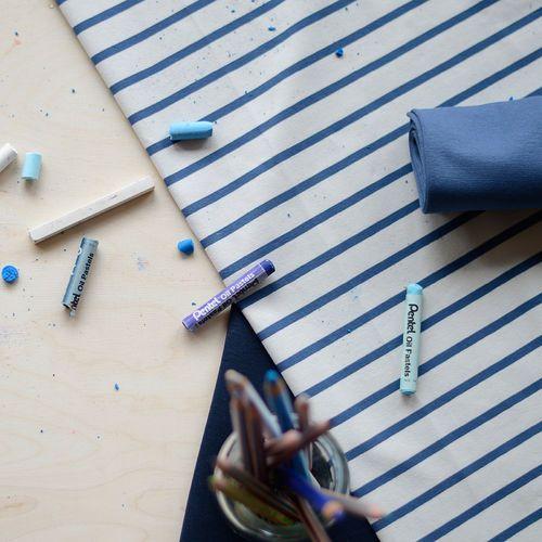 Stripe Jersey, Birch / Blue | NOSH Fabric Summer 2016 Collection - Shop online at en.nosh.fi | Kesän 2016 malliston kankaat saatavilla nyt verkosta nosh.fi