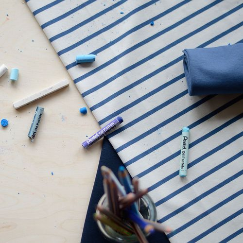 Stripe Jersey, Birch / Blue   NOSH Fabric Summer 2016 Collection - Shop online at en.nosh.fi   Kesän 2016 malliston kankaat saatavilla nyt verkosta nosh.fi