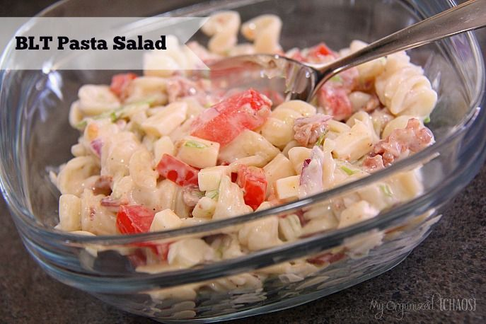 BLT Pasta Salad IF YOU LOVE THE BACON, LETTUCE AND TOMATO SANDWICH WELL THIS IS EVEN BETTER WITH PASTA AND CHEESE ADDED. YOU COULD EVEN ADD CUCUMBERS TO IT. HOPE THAT YOU TRY THIS ONE WITH YOUR FAMILY...ENJOY